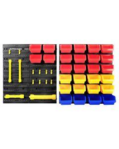 44 Piece Wall Mounted Storage Bin System