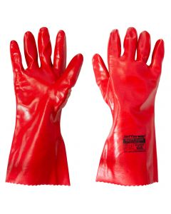 "Red PVC Gauntlet (14"") Safety Work Gloves"