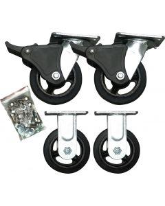 """5"""" Rubber Heavy Duty Castor Wheel Set"""