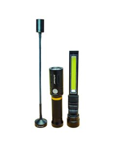 300lm 3-in-1 Interchangeable Rechargeable LED Lamp & Torch Kit