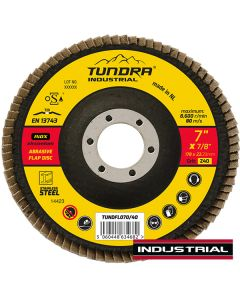 """Tundra Industrial 7"""" Flap Disc Z40 Grit"""